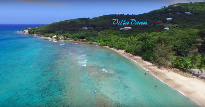 View of Villa Dawn and Cane Bay on St. Croix.